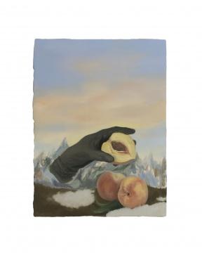 林山 《奶牛地毯上的桃子 40×30cm 铝板油画 2021