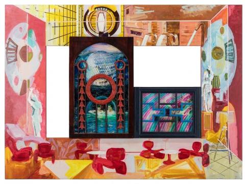 李青 《Spa漫游2021》 110×150×5.5cm 古董木窗、油彩、丙烯、亚麻布、有机玻璃 2021