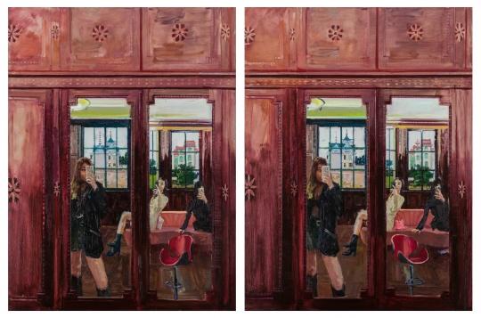 李青 《大家来找茬·后窗(两图有六处不同)》160×120cm×2 布面油画 2019-2020