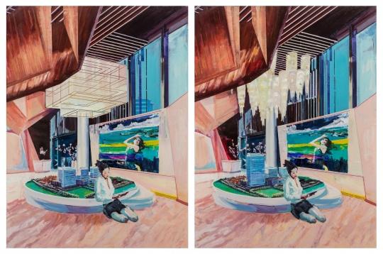 李青 《大家来找茬·楼姐(两图有五处不同)》 200×150cm×2 布面油画 2019