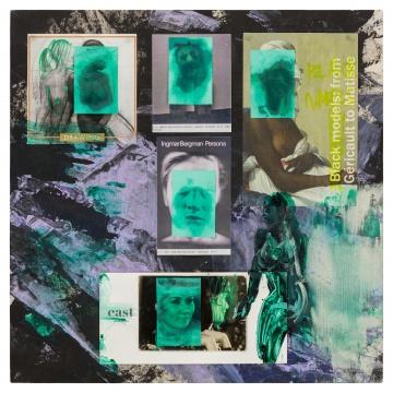李青 《玉面·六个女人》 45×45×4cm 木板、布料、丙烯、印刷品、照片、吸油面纸、人体油脂 2020