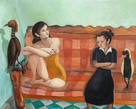 《在格子沙发上》 120x80cm 布面油画 2021