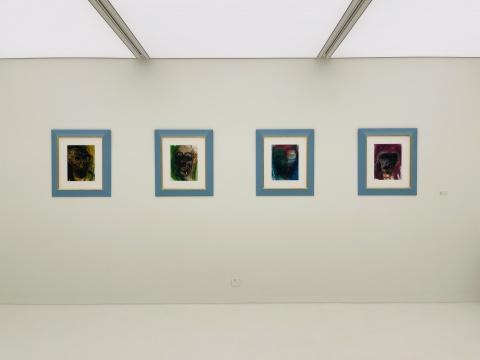 展览现场,胡玛·芭芭 《无题1-4》 41×31.1cm 纸本彩绘 2009