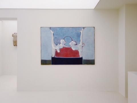 唐永祥 《有红色和蓝色,中间是耍杂技的两人》 130×180cm 布面油彩 2014