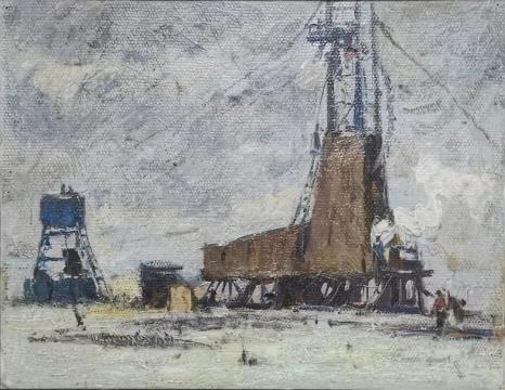 荒原钻探 26.2cmX32.5cm 1965 亚麻布油画 马常利