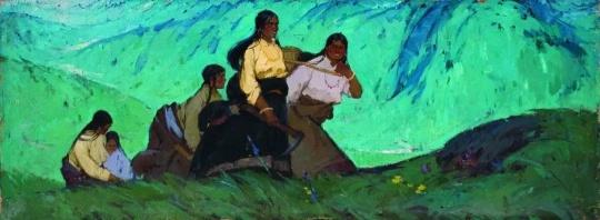 高原青春 100cmX270cm 1963 亚麻布油画 马常利 中央美术学院美术馆藏