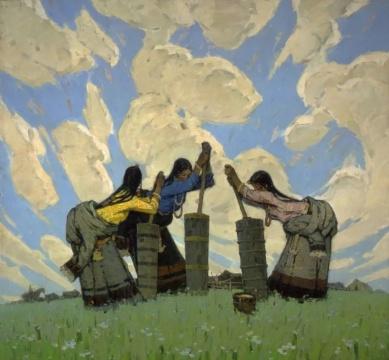 草原上150x162cm 1981 亚麻布油画 马常利 中国美术馆藏