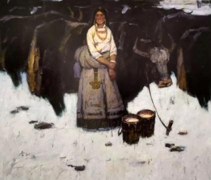 高原情 100cmX120cm 1980 亚麻布油画 马常利 中国美术馆藏