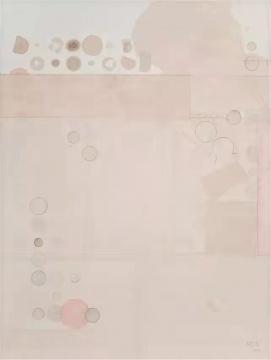 梁铨 《冷泉之三》 122×92cm. 茶、色、墨宣纸拼贴于亚麻布 2013